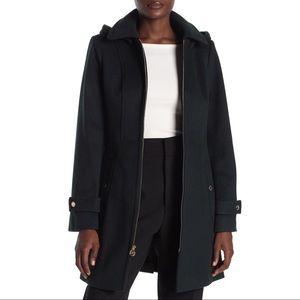 Michael Kors Removable Hood Zip Front Coat Black